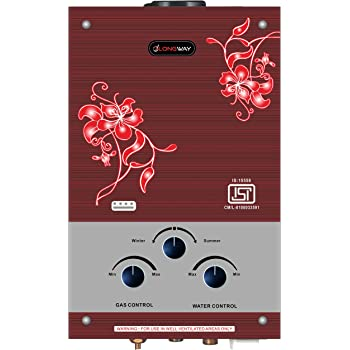 LONGWAY Decora 7 Litre Copper LPG Instant Gas Water Heater Geyser 5 Way Protection, 20 MNT Timer (Brown)