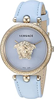 Versace Women's Palazzo Empire Stainless Steel Quartz Watch with Leather Calfskin Strap, Blue, 18 (Model: VECQ00918)