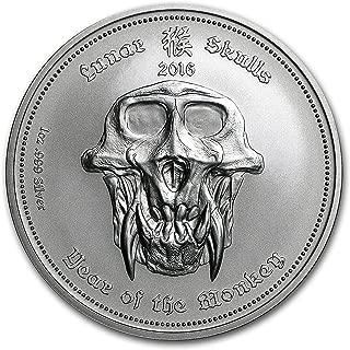 2016 DE Palau 1 oz Silver Lunar Skulls Year of the Monkey 1 OZ Brilliant Uncirculated