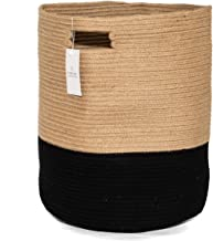 Chloe and Cotton Extra Large Tall Woven Rope Storage Basket 19 x 16 inch Jute Black Handles   Decorative Laundry Clothes Hamper, Blanket, Towel, Baby Nursery Diaper, Toy Bin Cute Collapsible Organizer