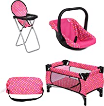 Exquisite Buggy Doll Play Set 3 in 1 Doll Set, 1 Pack N Play. 2.Doll High Chair. 3.Infant Seat, Fits Up to 18'' Doll (3pc Set)