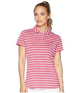 Short Sleeve Striped Pique Polo