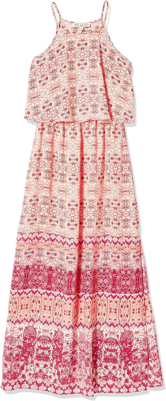 PINK ROSE Womens Layered Maxi Dress with Ruffle and High Border Along Hemline