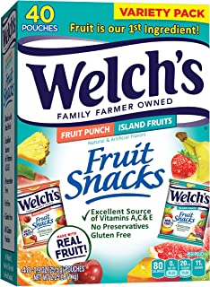 Welch's Fruit Snacks, Fruit Punch & Island Fruits Variety Pack, Gluten Free, Bulk Pack, 0.9 oz Individual Single Serve Bag...