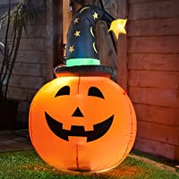 Varmax Halloween Inflatable Pumpkin with Witch Hat 3.5FT