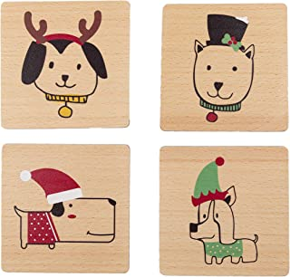 Pearhead Pet Holiday Dog Drink Coasters, Christmas or Housewarming Pet Owner Gift, Dog Home Décor, Set of 4