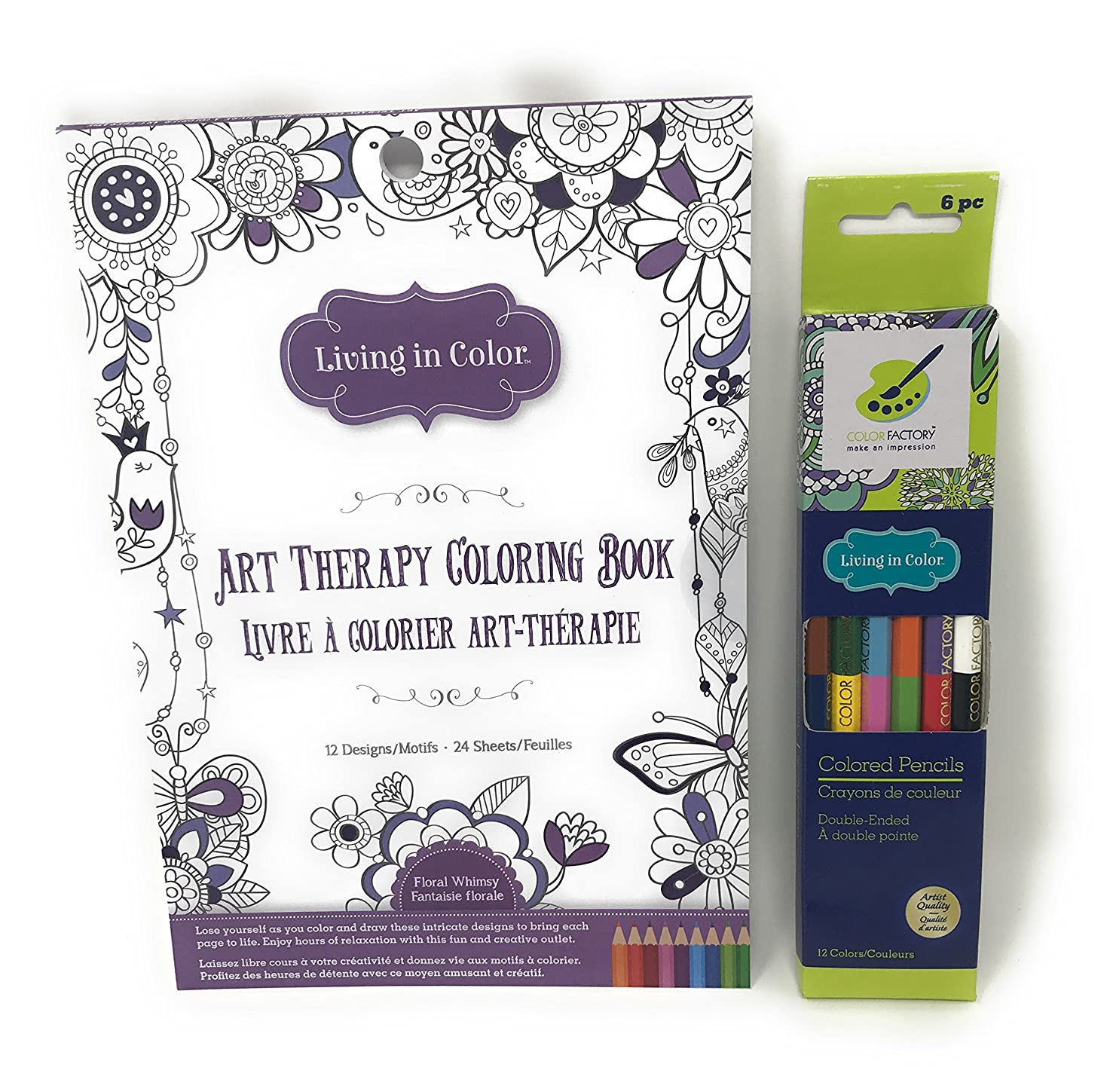 Living in Color Floral Whimsy Art Therapy Coloring Book and 12 Colors - Colored Pencils Double-Ended Bundle