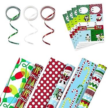 Hallmark - Juego de papel de regalo reversible con cinta y etiquetas adhesivas de regalo (3 rollos de papel de regalo y cinta; Papá Noel, pingüinos, rayas, puntos)