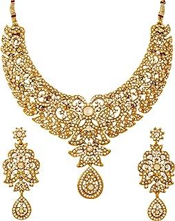 imitation kundan jewellery set with gold polish