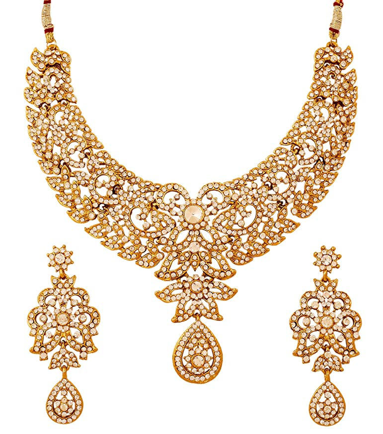 Touchstone Hollywood Glamour Pretty Filigree Rhinestone Studded Diamond Look Designer Bridal Jewelry hasli Necklace Set for Women in Antique Gold Tone