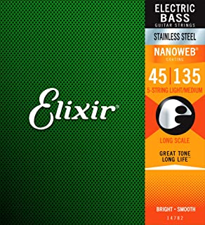 Elixir Strings Stainless Steel 5-String Bass Strings w NANOWEB Coating, Long Scale,