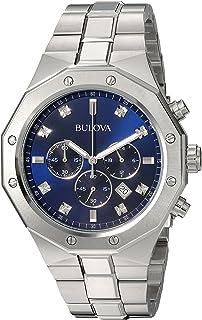 Bulova Men's Analog-Quartz Watch with Stainless-Steel Strap, Silver, 24 (Model: 96D138)