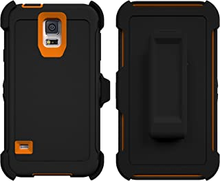 Galaxy S5 Case, Caseologist [Armor Series] [Shock Proof] [Black | Orange] for Samsung Galaxy S5 Case [Built in Screen Protector] [with Holster & Belt Clip] [Fits OtterBox Defender Series Belt Clip]