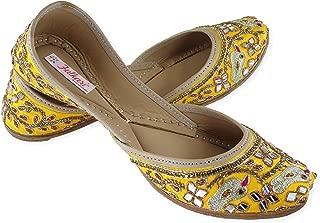 Fulkari Prime Spring Gold Handwork Embroidered Women's Soft Leather Bite and Pinch Free Punjabi Flat Ladies Jutti Ethnic Mojari Shoe