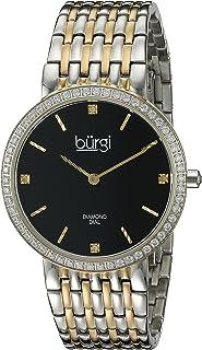 Burgi Women's BUR139SS Silver-Tone Crystal Bracelet Watch with Diamond Accents