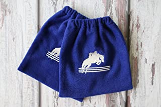English Stirrup Covers, Stirrup Bag, Equine Iron Covers, Elastic Closing, Royal, Embroidered Jumping Horse and Rider, Royal