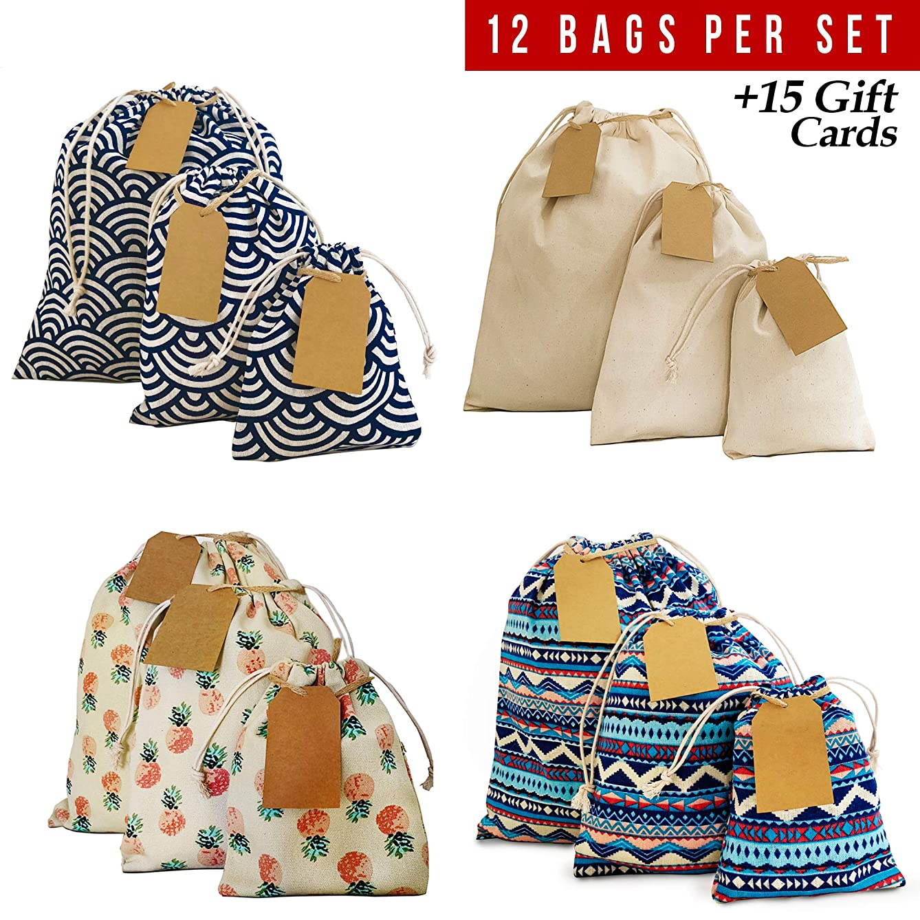 Drawstring bag 12pcs + 15 removable tags, reusable produce bags, eco friendly storage bags, snack cloth bags, reusable grocery bags, canvas bag for Birthday Wedding Party Baby Shower. 2nd Ed.