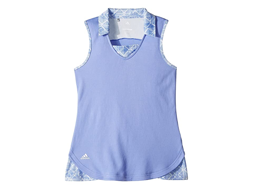 Image of adidas Golf Kids Fashion Print Sleeveless Polo (Big Kids) (Chalk Purple) Girl's Clothing