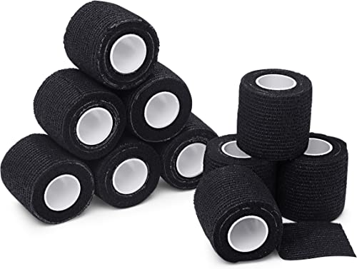 new arrival Self Adherent Cohesive Wrap Bandages - 2 inch by 5 Yards Self Adhesive Non Woven Bandage Rolls - Black Athletic Tape for Wrist - Black Grip outlet sale discount Tape and Vet Wrap - Ankle Tape (10) online