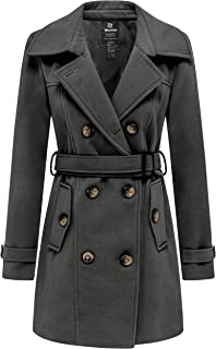 Women's Double Breasted Pea Coat Winter Mid-Long Trench Coat with Belt