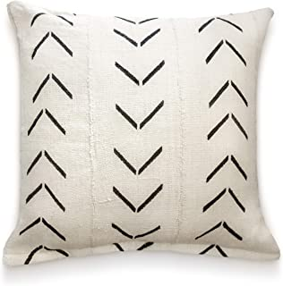 Throw Pillow Covers 18 x 18: Authentic African Mud Cloth Fabric Handwoven in Uganda Africa with Zipper for Home Decoration for Living Room Accent Pillows Decor Arrow Design (Natural Arrow Chevron)
