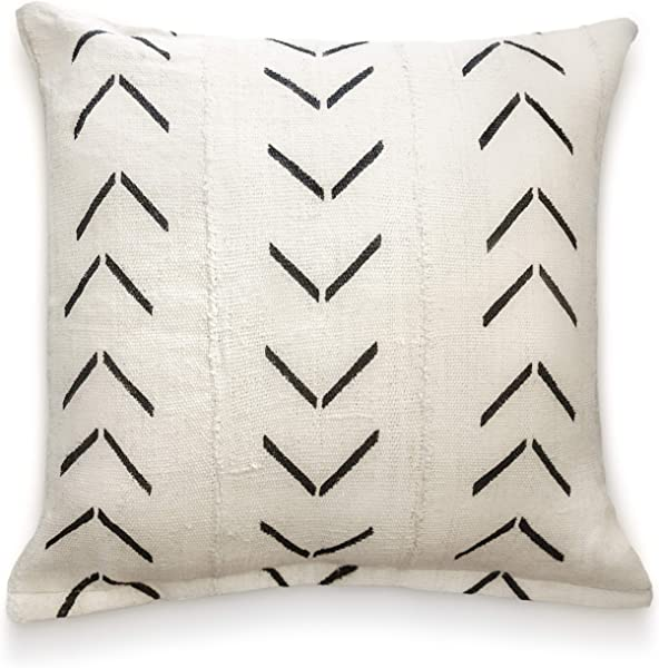 Throw Pillow Covers 18 X 18 Authentic African Mud Cloth Fabric Handwoven In Uganda Africa With Zipper For Home Decoration For Living Room Accent Pillows Decor Arrow Design Natural Arrow Chevron