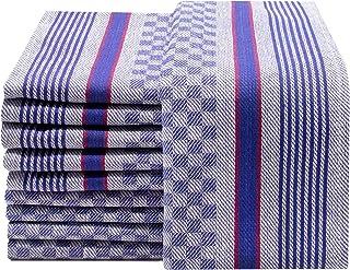 ZOLLNER 10 Serviettes de Cuisine en Coton, 45x90 cm, à carreaux bleus-blancs