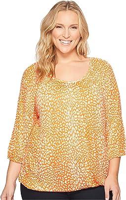 Plus Size Cheetah Peasant Top