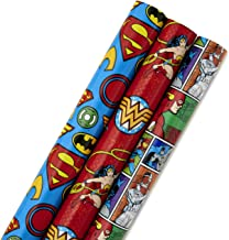Hallmark Justice League Wrapping Paper with Cut Lines (Pack of 3, 105 sq. ft. ttl.) with Wonder Woman, Superman, Batman, Flash and More