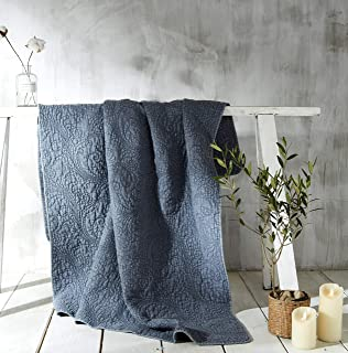Rachel Ashwell Prairie Farmhouse Quilted Embroidered Oversized Throw Blanket, Soft and Easy Care, 50x60, Grey, Light Blue