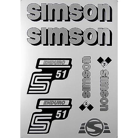 4 Teiliges Aufkleber Set Simson S51 Elektronik Weiß Für Tank Und Seitendeckel Auto