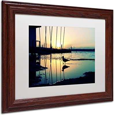 Lonely at Sunset Artwork by Beata Czyzowska Young Wood Frame, 11 by 14-Inch, White Matte
