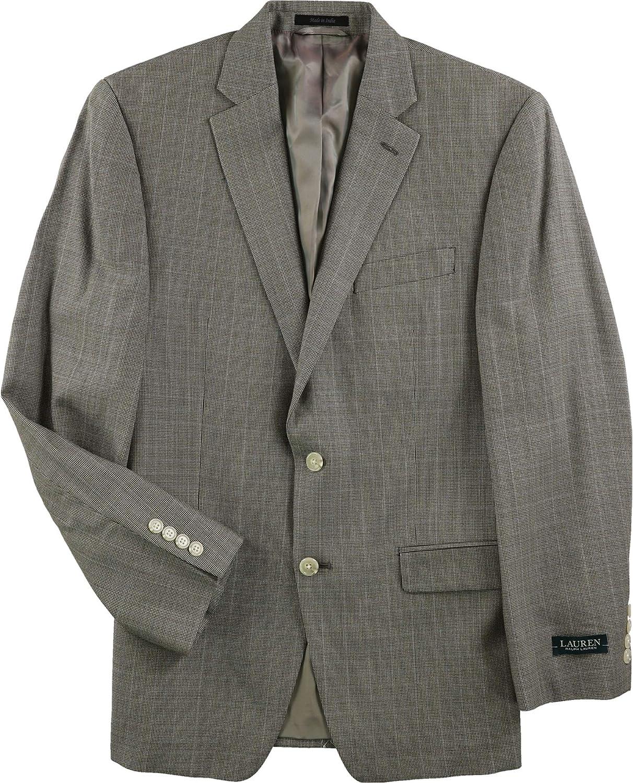 Ralph Lauren Mens Tan Plaid Two Button Blazer Jacket, Brown, 40 Long