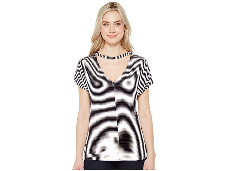 Project Social T Leigh Striped V-Back Tee (Navy/White) Women's T Shirt
