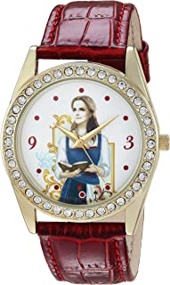 DISNEY Women's Beauty Analog-Quartz Watch with Leather-Synthetic Strap, red, 20 (Model: WDS000315)