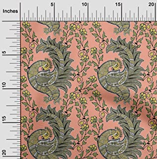 oneOone Organic Cotton Voile Fabric Floral & Peacock Kalamkari Printed Fabric 1 Yard 42 Inch Wide