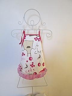 Tablier fille à froufrou en tissu écru avec des ustensiles de cuisine 4/6 ans -3-