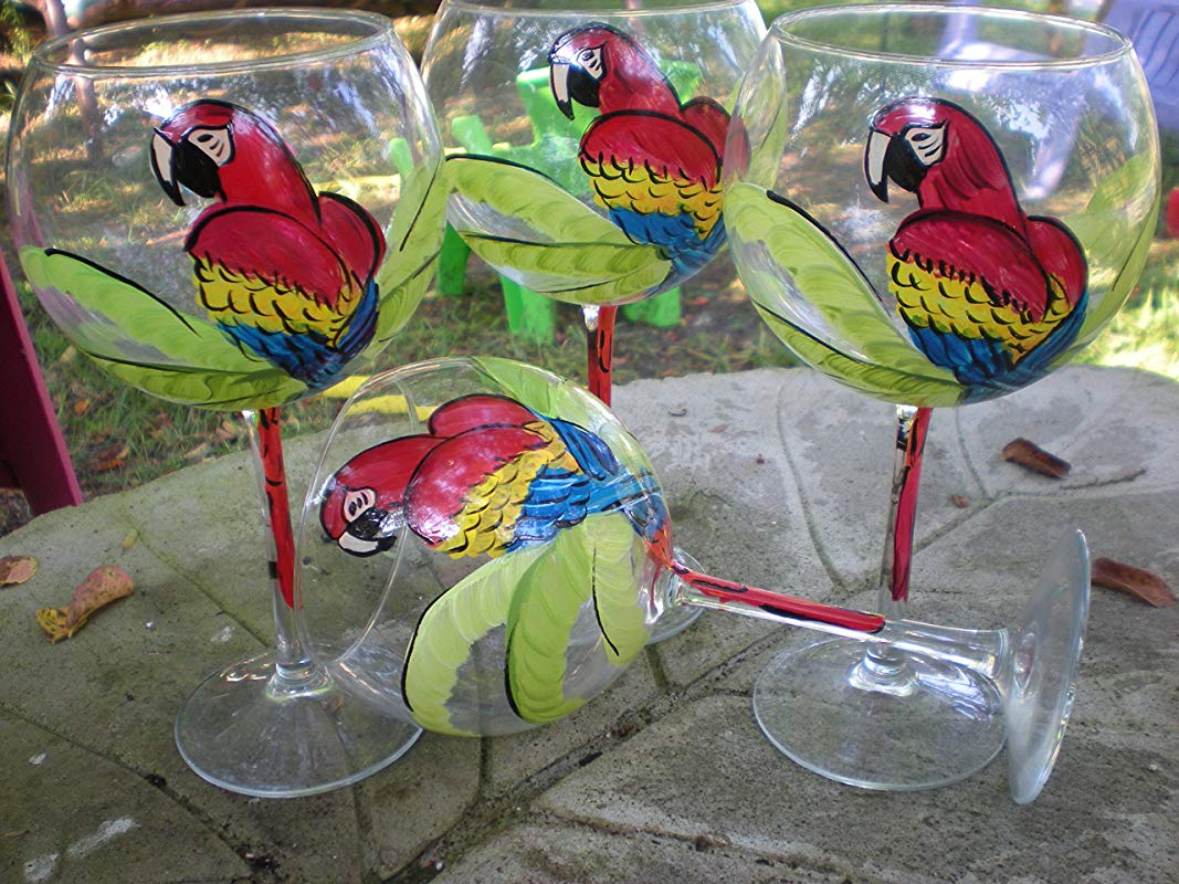 Hand Painted Red Parrots Set Of 4 20 Ounces Each Made In The Usa