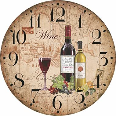 "WENXUAN 12"" Retro Vintage Wine Pattern France Style Non-Ticking Silent Wooden Wall Clock Art Decoration."