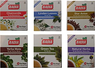 Badia Tea Variety Pack - Includes 6 Boxes Of 10 Bags Each (Natural Herbs, Green Tea, Chamomile, Star Anise, Yerba Mate And Linden Leaves)