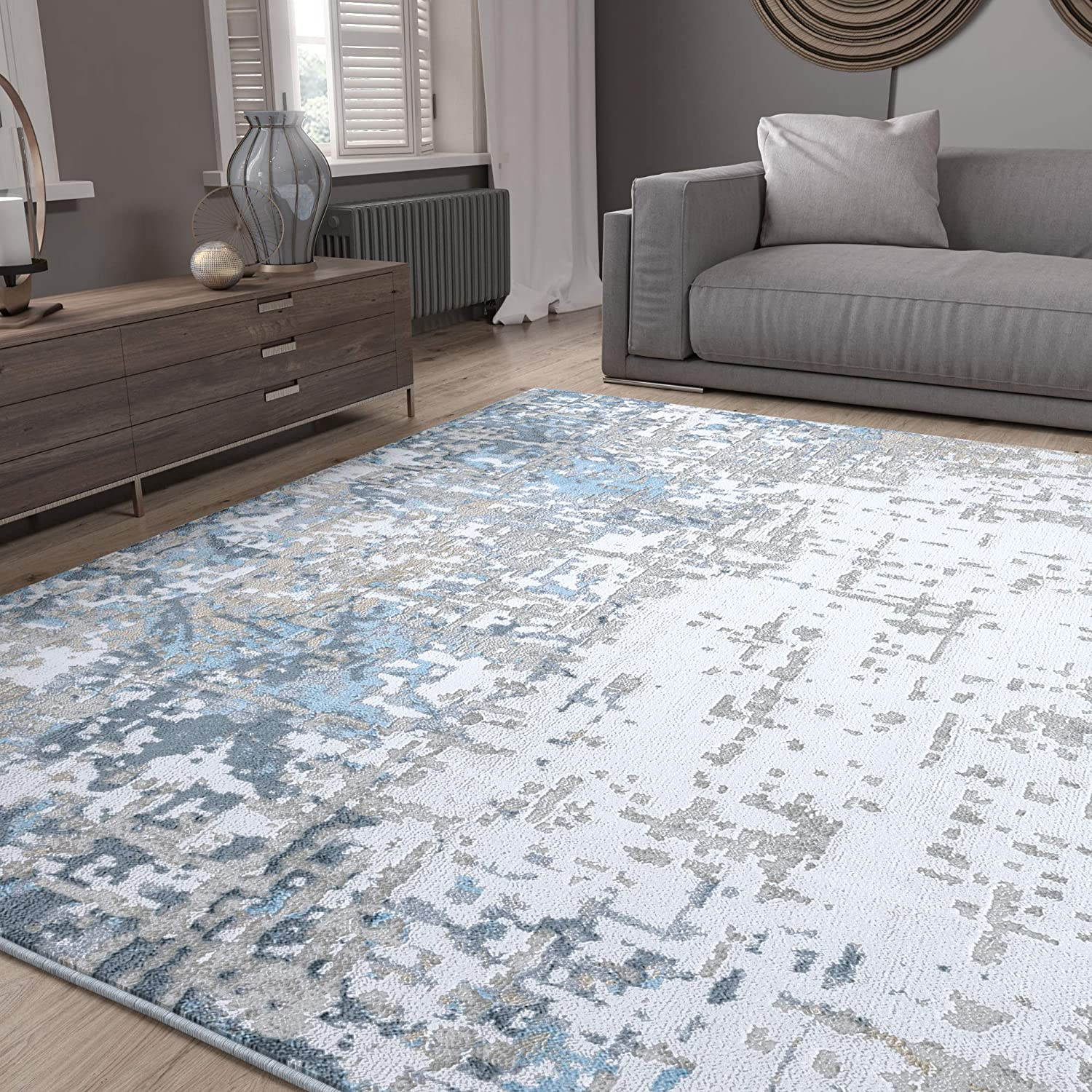Boulder Dark Blue 8x10 Rectangle Area Max 74% OFF for o Rug Our shop OFFers the best service Living Bedroom