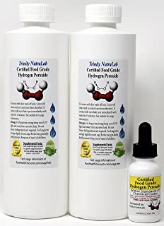 Food Grade Hydrogen Peroxide by Trinity NutraLab - Recognized as Highest Quality. 2 Pints plus pre-filled dropper bottle. 35% reduced to 12% Shipped Fast