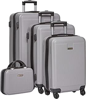 New Travel Hardside spinner luggage Set of 4 pieces with 3 digit number Lock -1606/4p set silver
