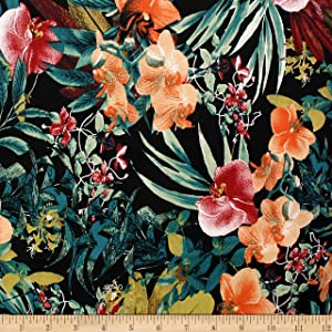 Telio Bloom Stretch Cotton Sateen Floral Pumpkin Fabric, Black, Fabric By The Yard