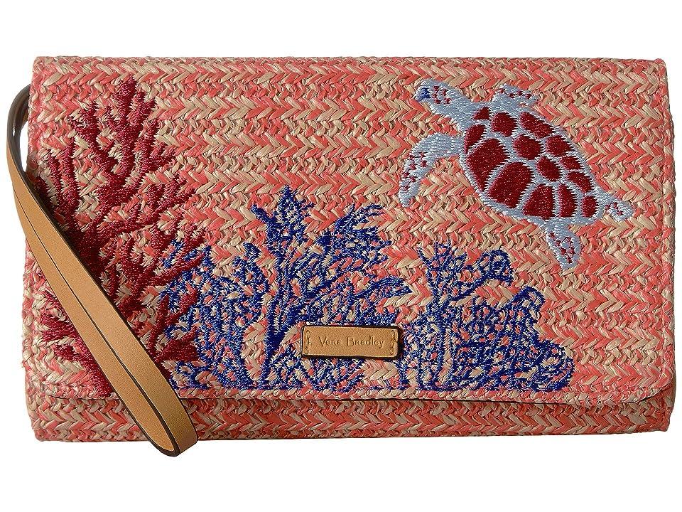 Vera Bradley Straw Beach Wristlet (Scarlet Coral) Wristlet Handbags