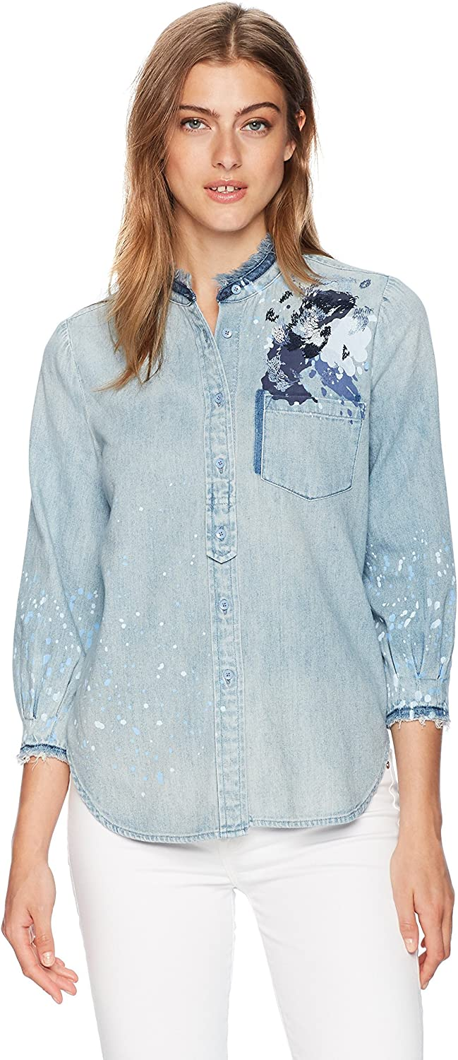 AG Adriano goldschmied Womens Courtney Button Up Blouse
