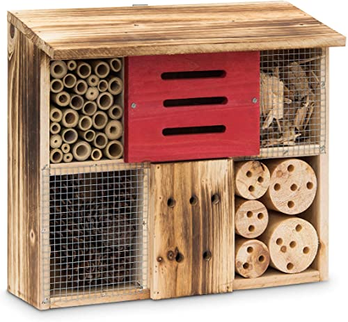 Relaxdays Hôtel à insectes HxlxP 29 x 33 x 13,5 cm toit plat en bois naturel brûlé, nature