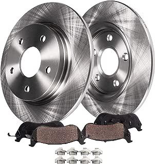 Detroit Axle - Rear Brake Rotors & Brake Pads w/Clips Hardware Kit for 97-01 Integra Type R - [02-06 Acura RSX] - 98-02 Accord V6 - [2004-2005 Honda Civic Si]