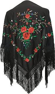 Mantones bordados Flamenco Manton de Manila negro con rosas rojo