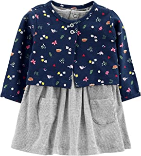 Baby Girls 2 Piece Bodysuit Dress and Cardigan Sweater...